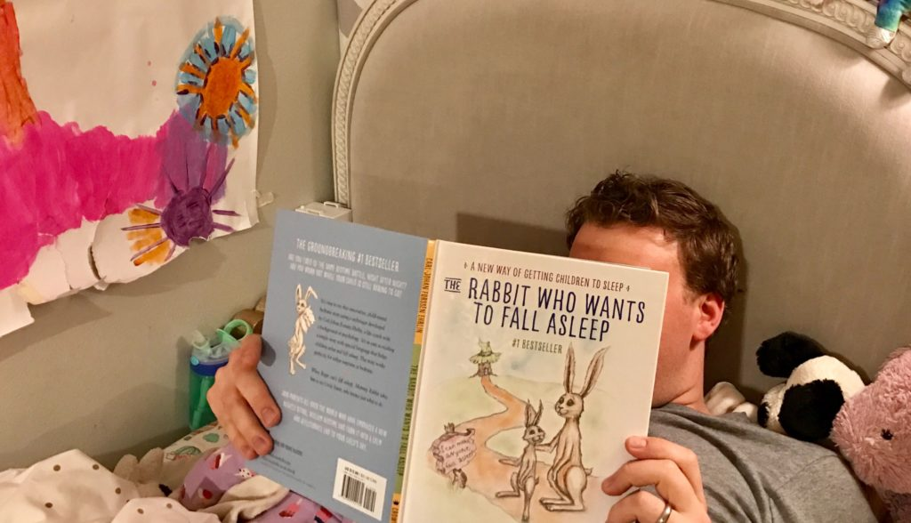 """Reading """"The Rabbit Who Wanted to Fall Asleep"""" to my daughter"""