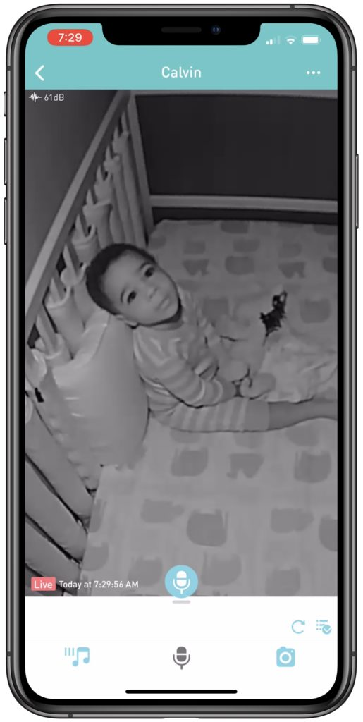 A baby as seen through the Lollipop Cam's night vision