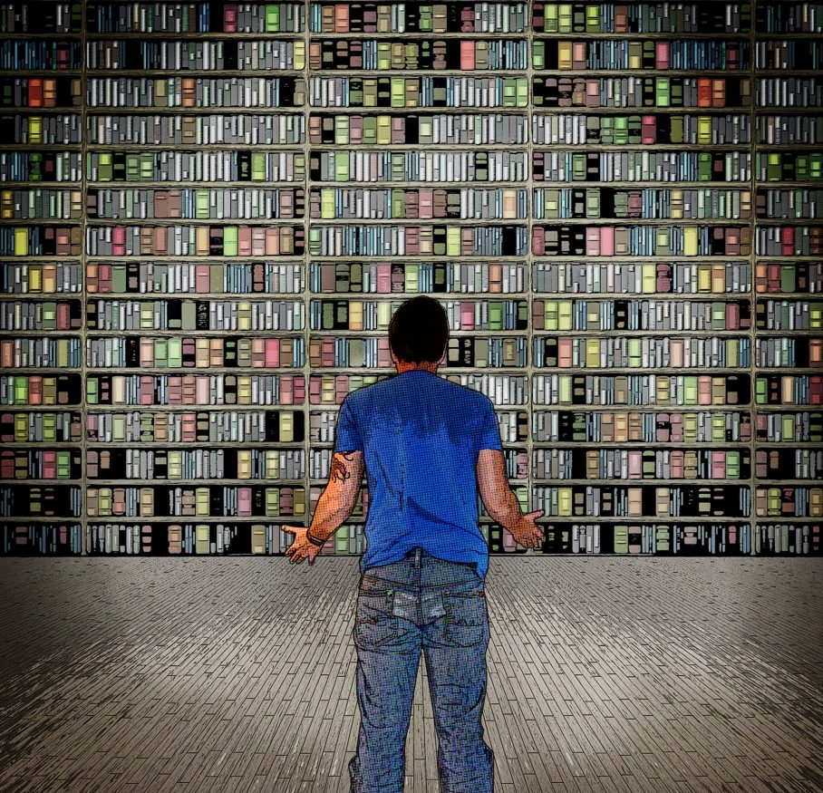 A guy looking at a wall of books, styled in graphic novel form
