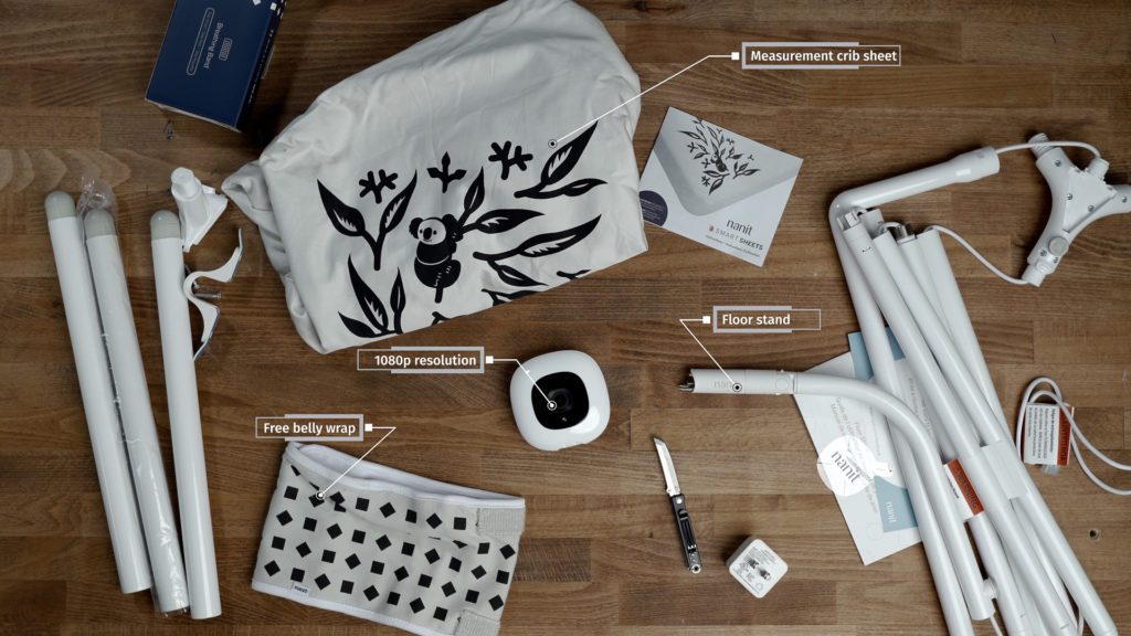 What's in the Nanit Pro box, laid out on a table.